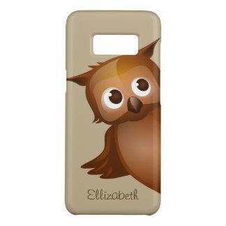 Cool Cute Custom Name Funny Cartoon Owl Monogram Case-Mate Samsung Galaxy S8 Case