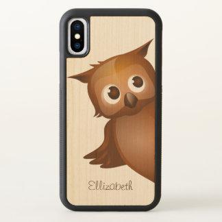Cool Cute Custom Name Funny Cartoon Owl Monogram iPhone X Case