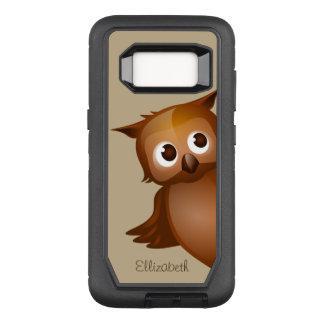 Cool Cute Custom Name Funny Cartoon Owl Monogram OtterBox Defender Samsung Galaxy S8 Case