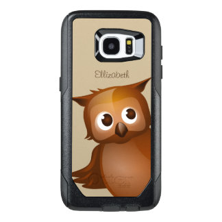 Cool Cute Custom Name Funny Cartoon Owl Monogram OtterBox Samsung Galaxy S7 Edge Case