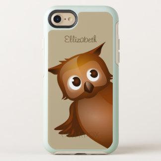 Cool Cute Custom Name Funny Cartoon Owl Monogram OtterBox Symmetry iPhone 8/7 Case