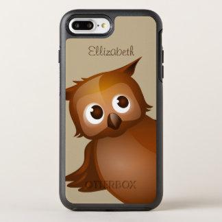 Cool Cute Custom Name Funny Cartoon Owl Monogram OtterBox Symmetry iPhone 8 Plus/7 Plus Case