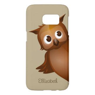 Cool Cute Custom Name Funny Cartoon Owl Monogram Samsung Galaxy S7 Case