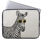 Cool cute funny zebra sketch with trendy glasses laptop sleeve