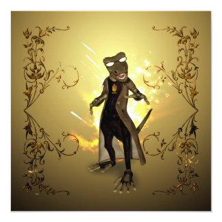 "Cool, cute gecko 5.25"" square invitation card"