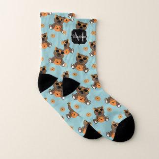 Cool cute Halloween bear and pumpkin Monogram Socks