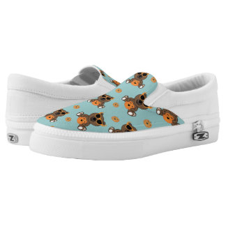 Cool cute Halloween bear and pumpkin pattern Slip-On Sneakers