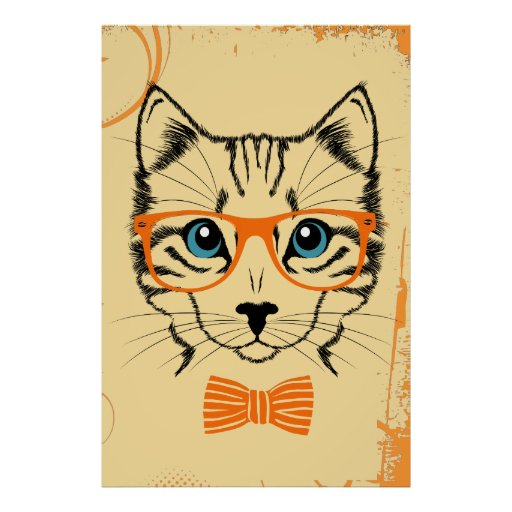 Cool Cute Hipster Cat Poster