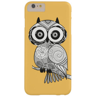 Cool Cute Hipster Retro Groovy Owl Yellow Gray Barely There iPhone 6 Plus Case