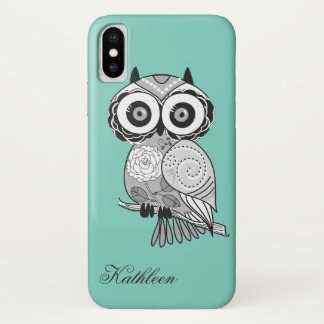 Cool Cute Hipster Vintage Groovy Owl Monogram iPhone X Case