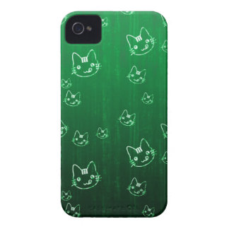 Cool cute japanese green kitty cat neko pattern Case-Mate iPhone 4 cases