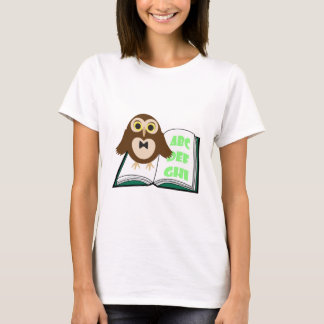 Cool Cute owl with Alphabet book Back to school T-Shirt