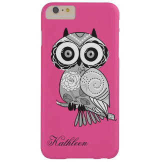Cool Cute Pink Hipster Retro Groovy Owl Monogram Barely There iPhone 6 Plus Case