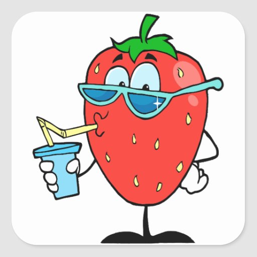 cool cute strawberry character drinking a drink square sticker