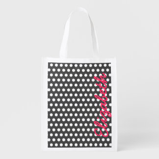 Cool cute trendy girly white polka dots pattern reusable grocery bag