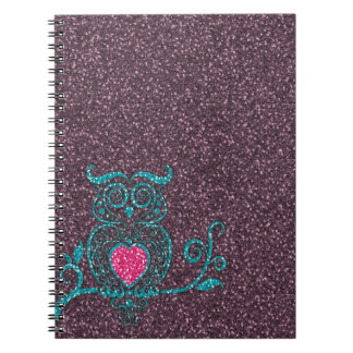 Cool cute trendy turquoise blue swirly owl notebook