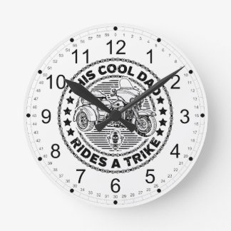 Cool Dad Biker Trike Round Clock