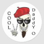 Cool Daddy - O Beatnik Skull Round Sticker