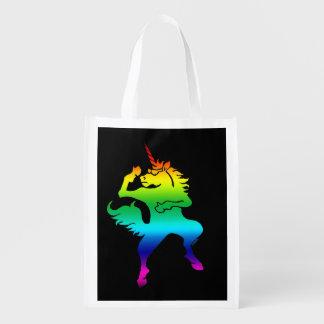 Cool dancing unicorn reusable grocery bag