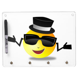 COOL DAPPER SMILEY DRY ERASE BOARD WITH KEYCHAIN HOLDER