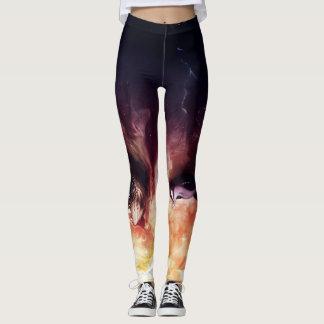 Cool Dark Colored Lion Print Leggings