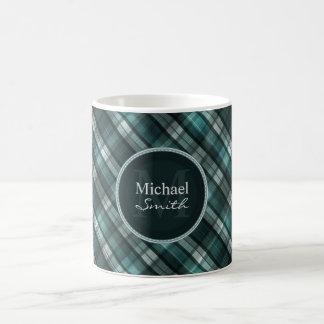 Cool Dark Cyan (Blue Green) Plaid Coffee Mug