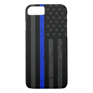 Cool Dark Distressed Police Style American Flag Case-Mate iPhone Case