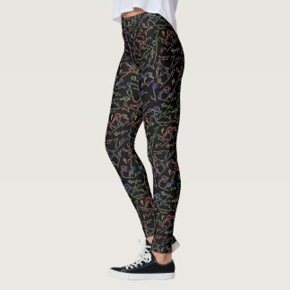 Cool Dark Electric Music Notes Pattern Leggings