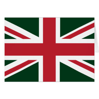 Cool Dark Green Red Union Jack British(UK) Flag Card