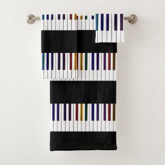 Cool Dark Psychedelic Piano Keys Bath Towel Set