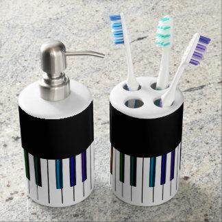 Cool Dark Psychedelic Piano Keys Bathroom Set