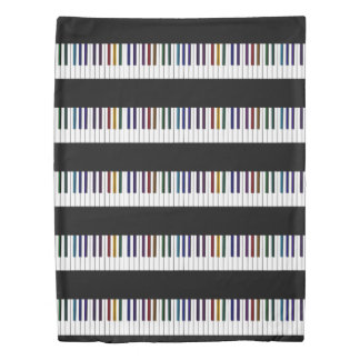 Cool Dark Psychedelic Piano Keys Duvet Cover