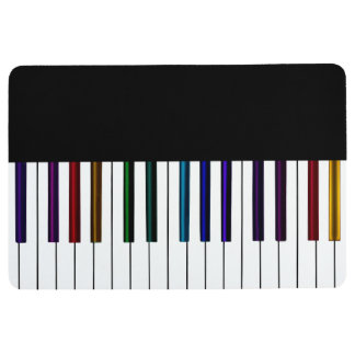 Cool Dark Psychedelic Piano Keys Floor Mat