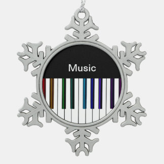 Cool Dark Psychedelic Piano Keys Snowflake Pewter Christmas Ornament