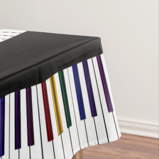 Cool Dark Psychedelic Piano Keys Tablecloth