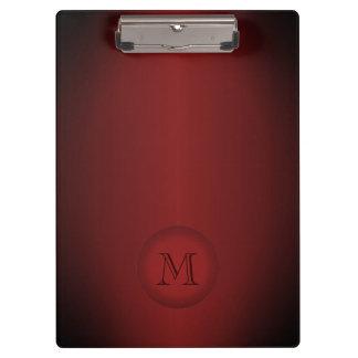 Cool Dark Red Gradient Monogram Clipboard