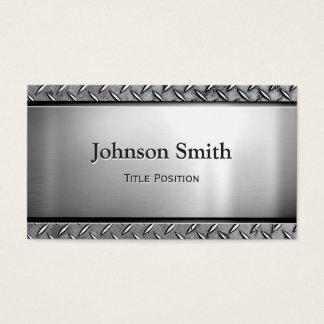 Cool Dark Stainless Steel with Diamond Metal Look Business Card