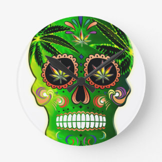 Cool Day of the Dead Sugar Skull Weed Clock