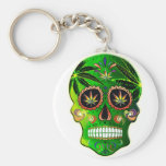Cool Day of the Dead Sugar Skull Weed Basic Round Button Keychain