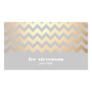 Cool de gris de motif de zigzag de feuille d or de modèle de carte de visite