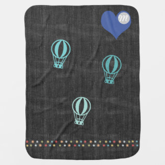 Cool Denim Hot Air Balloon Heart Monogram Baby Blanket