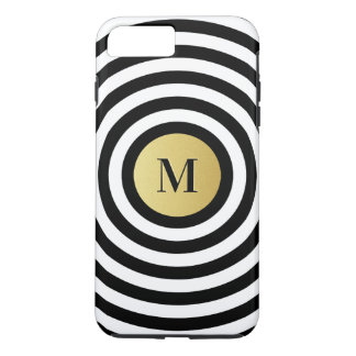 Cool Designer Black Stripe Pattern Gold Monogram iPhone 8 Plus/7 Plus Case