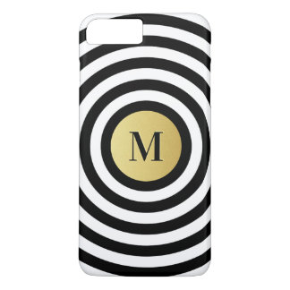 Cool Designer Black Stripe Pattern Gold Monogram iPhone 8 Plus/7 Plus Case