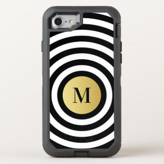 Cool Designer Black Stripe Pattern Gold Monogram OtterBox Defender iPhone 8/7 Case