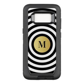 Cool Designer Black Stripe Pattern Gold Monogram OtterBox Defender Samsung Galaxy S8 Case
