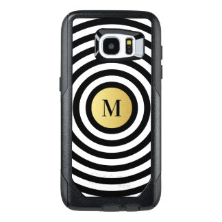 Cool Designer Black Stripe Pattern Gold Monogram OtterBox Samsung Galaxy S7 Edge Case