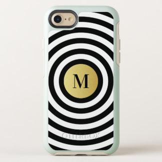 Cool Designer Black Stripe Pattern Gold Monogram OtterBox Symmetry iPhone 8/7 Case