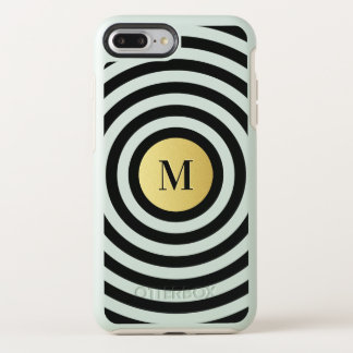 Cool Designer Black Stripe Pattern Gold Monogram OtterBox Symmetry iPhone 8 Plus/7 Plus Case
