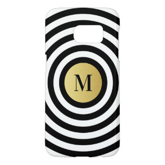 Cool Designer Black Stripe Pattern Gold Monogram Samsung Galaxy S7 Case