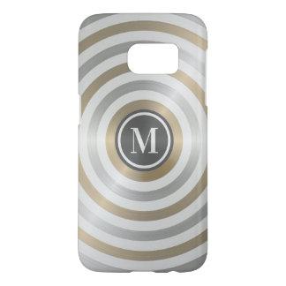 Cool Designer Metal Stripe Pattern Grey Monogram Samsung Galaxy S7 Case